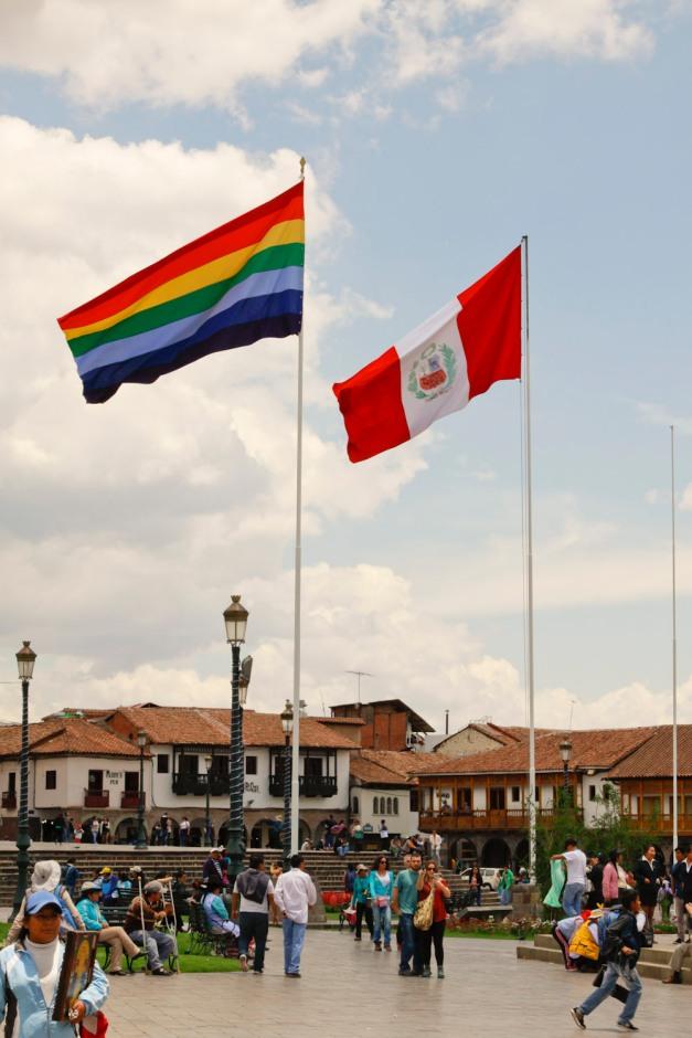 Cusco Flag and Perú Flag